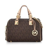 Michael Kors Signature Print Satchel Handbag Bag 30F2GGCS2B Brown