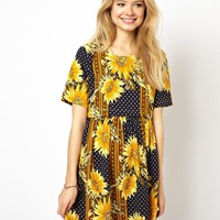 ASOS Smock Dress In Sunflower Print With Button Off Waist
