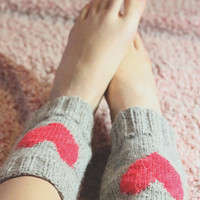 Heart boot cuffs. Grey wool Valentine leg warmer, knee high