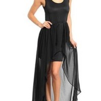 Black Sleeveless High-Low Chiffon Dress