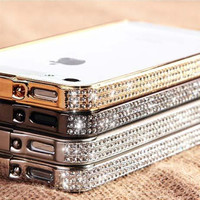crystal iphone 5 case,bling bling iphone 4s cases with diamond,unique iphone 4 cover cases iPhone 5s case golden phone case