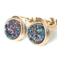 Mystic Rainbow AAA Small Druzy Stud Post Earrings Gold