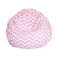 Small Classic Printed Bean Bag - Chevron - Baby Pink