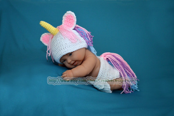 Crochet Unicorn Outfit : Crochet My Little Unicorn newborn baby from CreativeDesignProps