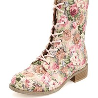 FLORAL PRINT FABRIC LACE-UP COMBAT BOOTS