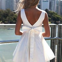APPROACH TIE BOW DRESS , DRESSES, TOPS, BOTTOMS, JACKETS & JUMPERS, ACCESSORIES, 50% OFF SALE, PRE ORDER, NEW ARRIVALS, PLAYSUIT, COLOUR, GIFT VOUCHER,,White,SLEEVELESS Australia, Queensland, Brisbane