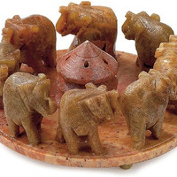 Marching Elephant Herd - Soapstone Incense Burner