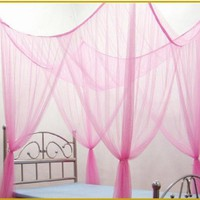 4 Poster / Four Corner Lt. Pink Bed Canopy Functional Mosquito Net Full Queen King