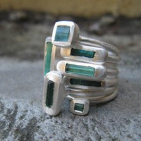 One Natural Raw Blue Tourmaline / Fine Silver by SaaraReidsema