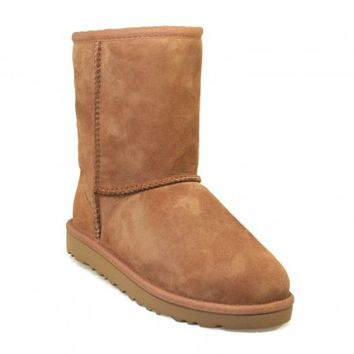 UGG Australia Junior Classic Short Chestnut Brown Suede Sheepskin Boots