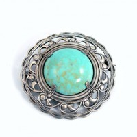 Vintage Sterling Silver Brooch Turquoise Glass Pin