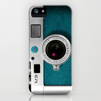 classic retro Blue teal silver Leica M9 Leather camera apple iPhone 4 4s, 5 5s 5c, iPod & samsung galaxy s4 case