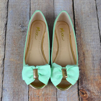 Garden Of Mint Bow Open Toe Flats