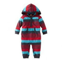Baby Boys Hooded Striped Knit Romper | Tea Collection