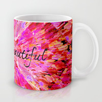 LIFE IS BEAUTIFUL Bold Pink Bird Feathers Ocean Waves Painting Sea Romantic Love Girlie Abstract Mug by EbiEmporium