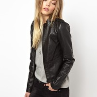 Noisy May Macy Short Leather Look Jacket