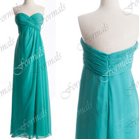 Strapless Sweetheart Long Chiffon Turquoise Simple Prom Dresses, Wedding party Dresses, Turquoise Bridesmaid Dresses