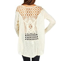 Taupe Oversize Crochet Long Sleeve Top