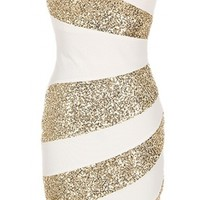 Sequin Trim Dress - Kely Clothing
