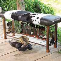 Boot Bench with Cowhide