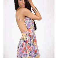 Floral Cross Back Dress - Kely Clothing