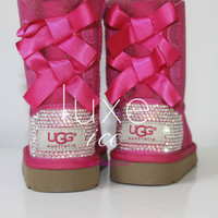 LUXURY UGG Baily Bow for women boots w Swarovski Elements - Size 5, 6 Y