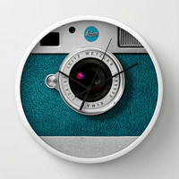 classic retro Blue teal silver Leica M9 Leather camera iPhone 4 4s 5 5c, ipod, ipad case Wall Clock by Three Second