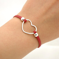 Sterling Silver Heart Red Leather Bracelet - Simple Modern Minimalist Jewelry - Infinity Bracelet - Love Bracelet - Valentine's Day Gifts