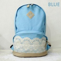 Landiya Canvas Backpack with Lace/ Preppy Style Knapsack/ Casual Rucksack/ School Backpack - 4 Colors (Blue)