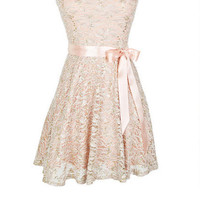 Sequin Ribbon Dress - Blush