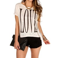Sand/Black 'Love' Dolman Top
