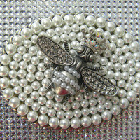 Extra Large Custom Pearl Belt Buckle, Honeybee Belt Buckle, Honey Bee, Womens Ladies Ornate Belt Buckle