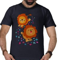 Cute Cartoon Lions In The Garden T-Shirt from Zazzle.com