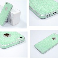 TCD Aqua Green Sparkling Glitter Full Body Skin Sticker Film With Clear Screen Protector For iPhone 4 4S