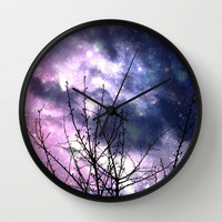 Purple Universe  Wall Clock by Oksana's Art