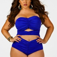 """Fiji"" Sweetheart Ruched Plus Size Swimsuit w/ Removable Strap- Sapphire - Swimwear - Monif C"