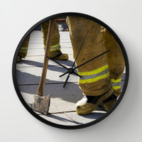 Firefighters with an Ax Wall Clock by Maureen Bates Photography