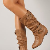 Wild Diva Lounge Candies-86 Buckle Slouchy Mid Calf Wedge Boot