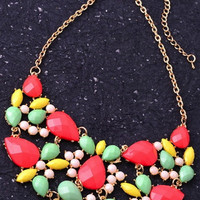 Colorful Bib Necklace - Coral/Multi