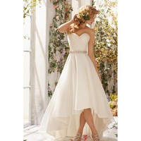Superb Strapless Taffeta and Chiffon Hi-lo A-line Wedding Dress
