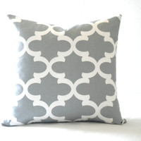Gray white trellis pillow cover, fabric both sides, All sizes available