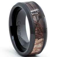 Black Ceramic Men's Hunting Camo Ring, Comfort Fit Band, 8mm Sizes 7 to 15