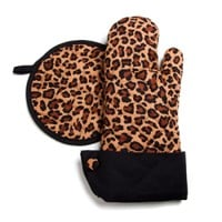 Grandway ™ Leopard Print with Black Trim Oven Mitt & Hot Pad :: Welcome to NeatlySmart™ :: Good things for your home & family™