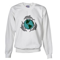 Dolphins Earth Design Earth day Sweatshirt by CafePress