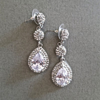 Bridal Rhinestone Teardrop Earrings Long Crystal Cubic Zirconia Wedding Chandler Earrings Jewelry
