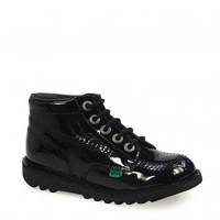 Kickers Kick Hi Toddler Core Black Patent Leather Boots