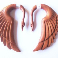 Stunning rose wood swan fake gauge earrings