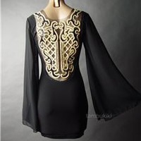 Regal Sequin Gold Ornate Design Black Bell Sleeve Cocktail Evening 49 ac Dress S