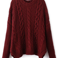 ROMWE Twisted Split Burgundy Jumper