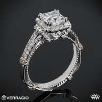 14k White Gold Verragio Dual Claw Princess Halo Diamond Engagement Ring